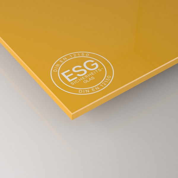 ESG Glas nach Maß - Gelb lackiert