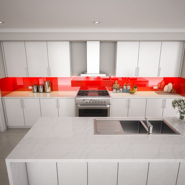 Glas Küchenrückwand - Rot REF 1586