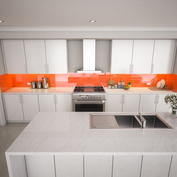 Glas Küchenrückwand - Rot Terracotta REF 8815