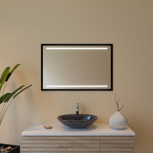Rahmenspiegel schwarz mit LED - Indien