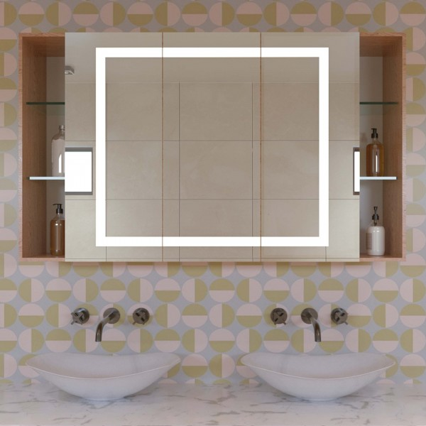 LED Badspiegelschrank mit offenen Fächern - Luca