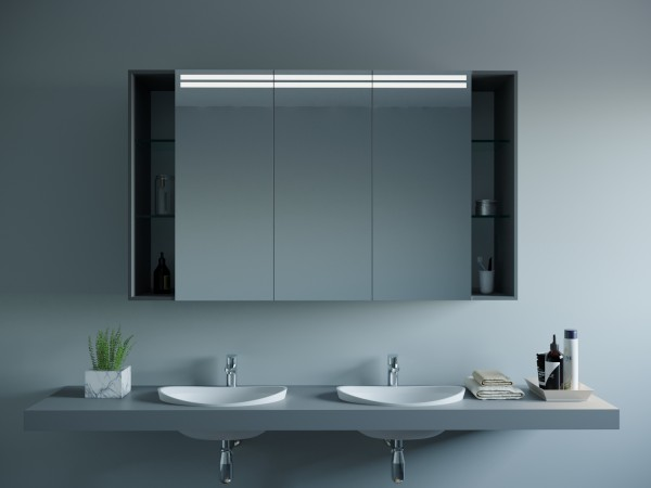 LED Badspiegelschrank mit Ablagen - Leon