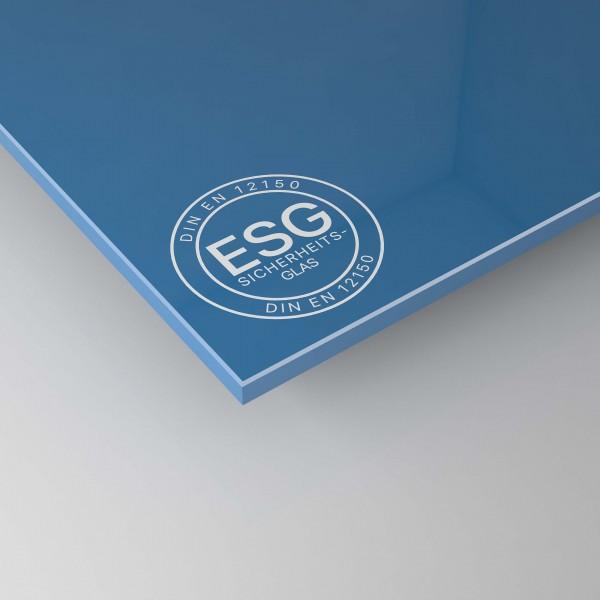 4 mm ESG Glas in Blau lackiert
